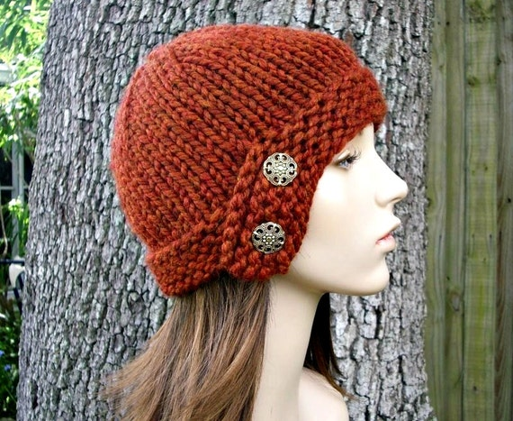 Burnt Orange Womens Hat - Orange Cloche Hat Rust Orange Knit Hat - Orange Hat Orange Beanie Womens Accessories Fall Fashion Winter Hat