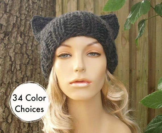 Grey Knit Hat Grey Womens Hat Grey Hat - Grey Cat Beanie Hat in Charcoal Grey Hat Womens Accessories Winter Hat - 34 Color Choices