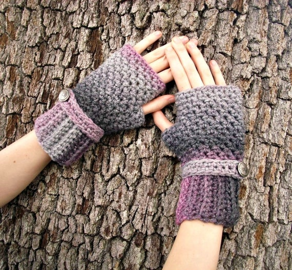 Crocheted Fingerless Gloves Mittens - Fingerless Gloves Shadow Pink Charcoal Grey - Grey Gloves Grey Mittens Pink Gloves Womens Accessories