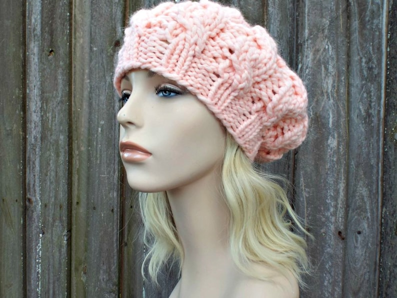 fab4c5c8975 Womens Chunky Knit Hat Pale Peach Cable Beret Peach Hat