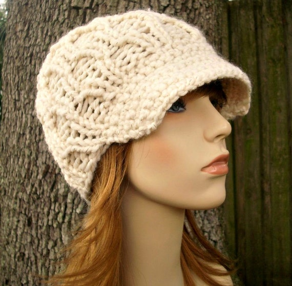 Knit Hat Womens Hat Newsboy Hat - Amsterdam Cable Beanie with Visor in Starlight Metallic Cream and Gold Knit Hat - Womens Accessories