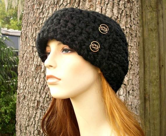 Crochet Hat Black Womens Hat 1920s Flapper Hat - Garbo Cloche Hat Black Crochet Hat - Black Hat Black Beanie Womens Accessories Winter Hat