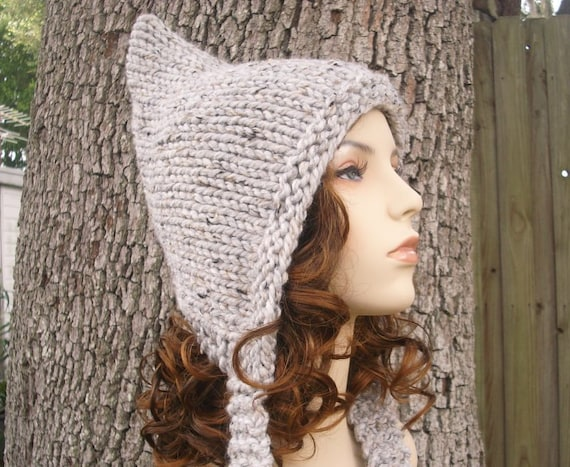 Grey Womens Hat - Grey Pixie Hat Marble Tweed Grey Knit Hat - Grey Hat Womens Accessories Fall Fashion Winter Hat