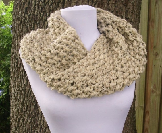 Knit Cowl Oatmeal Womens Cowl - Mobius Cowl Scarf in Oatmeal Cowl - Oatmeal Scarf Womens Accessories