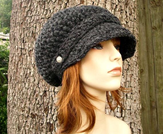 Crochet Hat Grey Womens Hat Grey Newsboy Hat - Crochet Newsboy Hat Charcoal Grey Hat Grey Beanie Womens Accessories