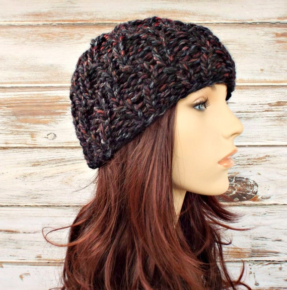 Knit Hat Womens Hat - Amsterdam Cable Beanie in Rust Blackstone Black Charcoal Grey Knit Hat - Grey Hat Womens Accessories Winter Hat