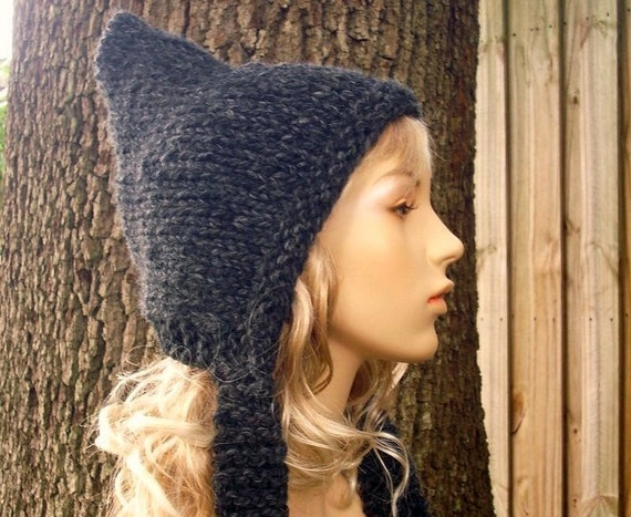 Charcoal Grey Pixie Hat Chunky Womens Hat Grey Knit Hat - Grey Hat Grey Ear Flap Hat Fall Fashion Womens Accessories Winter Hat