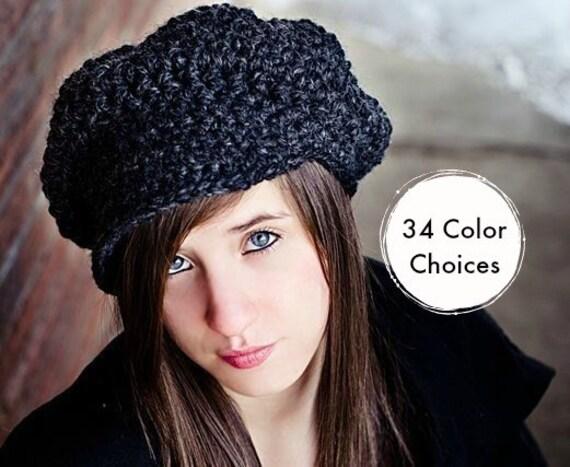 Grey Crochet Hat Women Charcoal Grey Newsboy Hat - Charcoal Grey Hat Charcoal Grey Beanie - 34 Color Choices