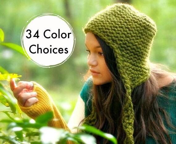 Hand Knit Hat Womens Hat - Garter Ear Flap Hat Olive Green Knit Hat Green Hat Green Beanie Green Ear Flap Hat Winter Hat