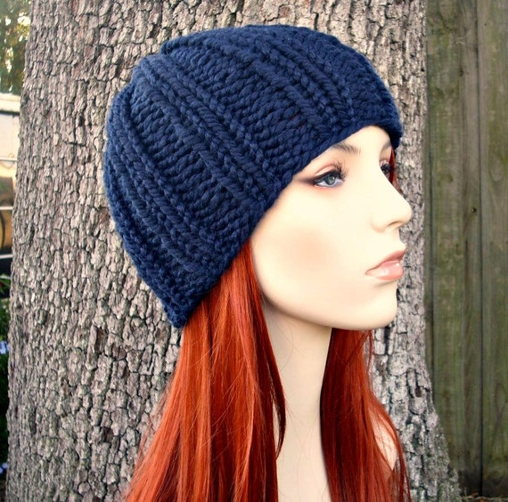 Knit Hat Blue Womens Hat Blue Mens Hat  - Ribbed Beanie in Navy Blue Knit Hat - Navy Blue Hat Bany Blue Beanie Womens Accessories Winter Hat