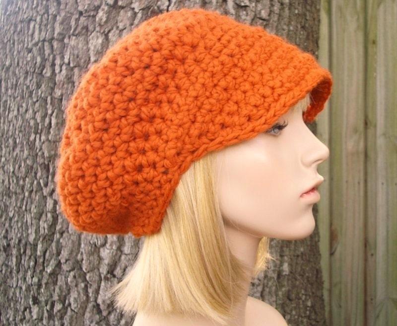 d2f99ad0737 Pumpkin Orange Newsboy Hat Crochet Hat Womens Hat - Crochet Newsboy Hat - Orange  Hat Orange Beanie Womens Accessories Fall Fashion