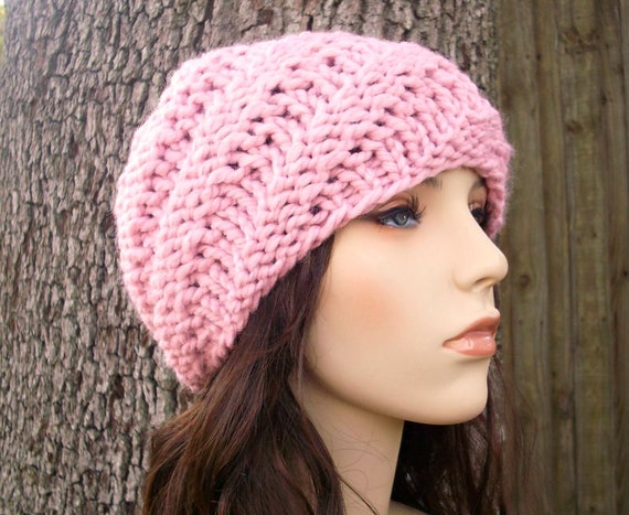 Knit Hat Pink Womens Hat - Swirl Beanie in Pink Knit Hat - Pink Hat Pink Beanie Womens Accessories Winter Hat