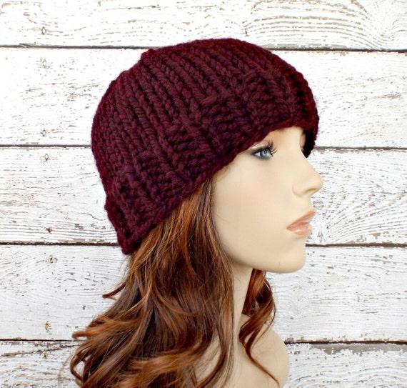 Red Womens Hat - Toque Beanie Hat Oxblood Wine Merlot Knit Hat Red Hat Red Beanie Womens Accessories Winter Hat