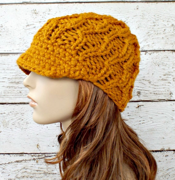 Mustard Newsboy Hat Chunky Knit Hat Womens Hat - Amsterdam Cable Beanie Yellow Newsboy Hat Mustard Hat - READY TO SHIP