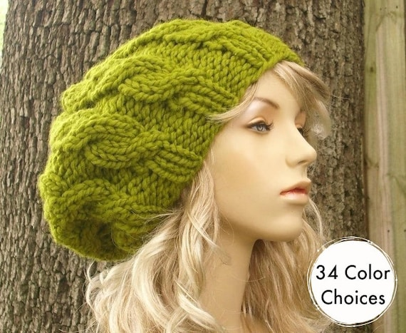 Knit Hat Womens Hat Slouchy Beanie Cable Beret Hat in  617f3018ac0