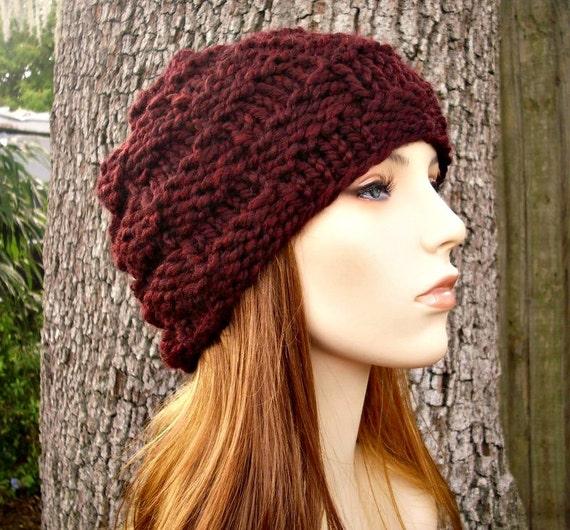 Knit Hat Red Womens Hat - Basket Weave Beanie in Oxblood Wine Red Knit Hat - Red Hat Red Beanie Burgundy Hat Womens Accessories Winter Hat