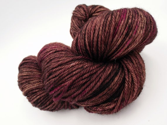 Hand Dyed Yarn 100% Superwash Merino Yarn Worsted Weight Yarn - 220 Yards - Tonal Chocolate Brown and Pink Yarn - Raspberry Truffle