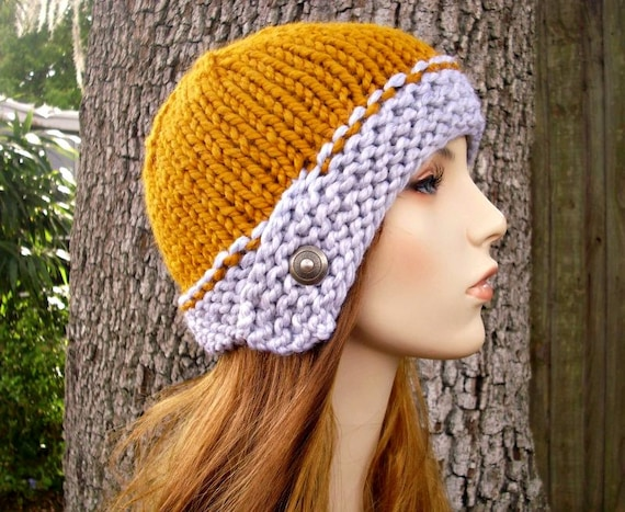 Knit Hat Womens Hat - Cloche Hat in Heather Grey and Mustard Yellow Knit Hat - Grey Hat Mustard Hat Womens Accessories Winter Hat