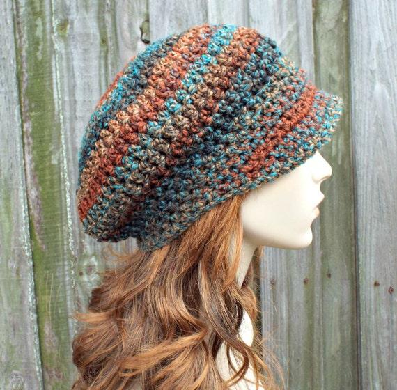 Womens Crochet Hat Womens Hat Newsboy Hat - Rust Teal Brown Newsboy Hat - Womens Accessories Spring Fashion