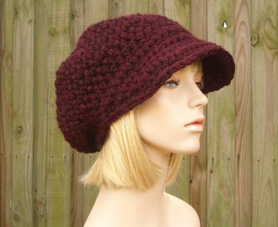 Damenmütze Rot Newsboy Häkeln Schiebermütze Hut Rot Häkeln Etsy