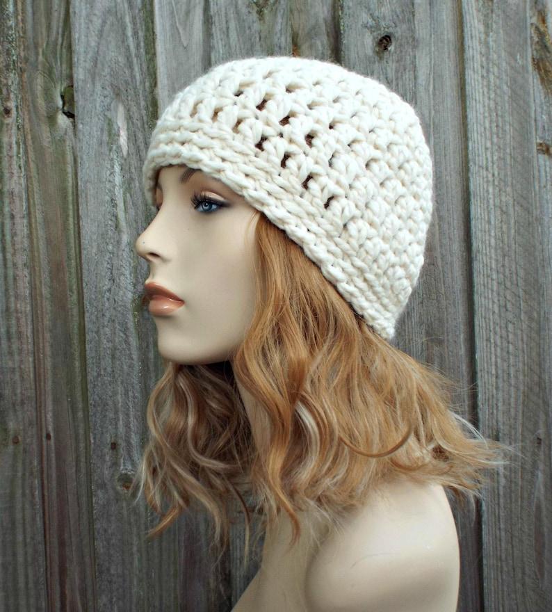 0756fa69acc0e Cream Beanie Cream Hat Crochet Womens Hat Mens Hat Warm