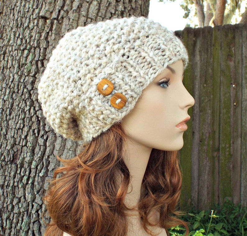 Knit Hat Womens Hat Gnome Hat in Wheat Knit Hat Wheat Hat Wheat Beanie Womens Accessories Winter Hat