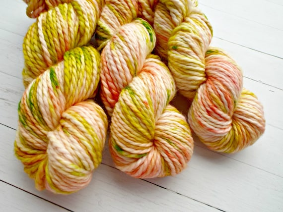Hand Dyed Yarn 100% Superwash Merino Yarn Bulky Weight Yarn - 109 Yards Variegated Yarn Peach Yarn Yellow Yarn Green Yarn - Peach Blossoms