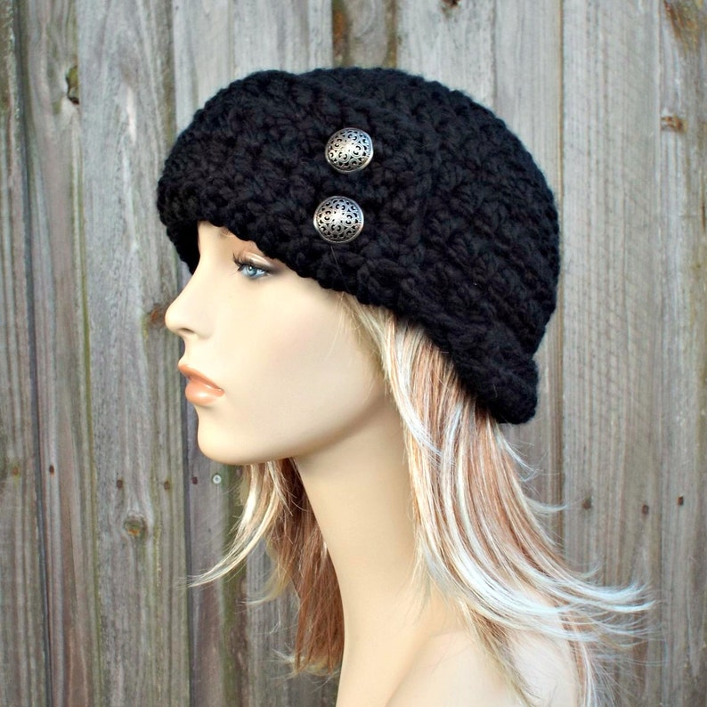 23b0e415c Black Beanie - Womens Crochet 1920s Flapper Hat - Garbo Cloche Winter Hat  with Silver Buttons