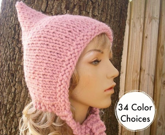 Knit Hat Womens Hat - Pixie Hat in Blossom Pink Knit Hat - Pink Hat Pink Pixie Hat Pink Hood Pink Ear Flap Hat Winter Hat