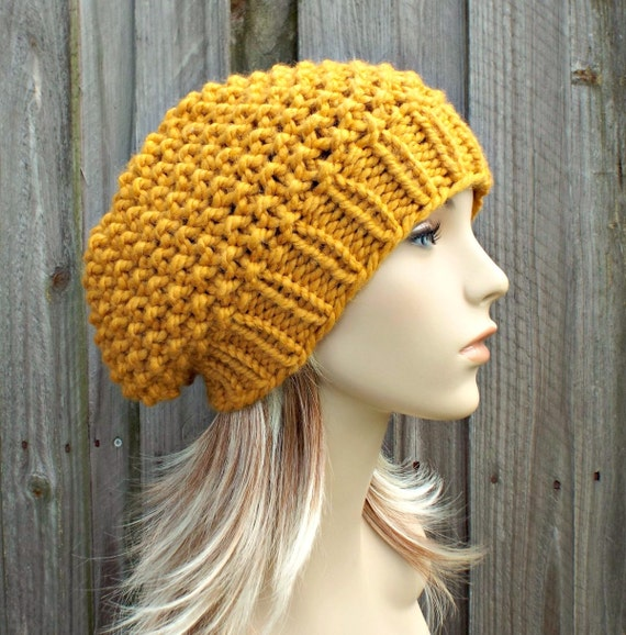 4084a8a62a7 Knit Hat Womens Hat Slouchy Beanie Seed Beret Hat in Mustard