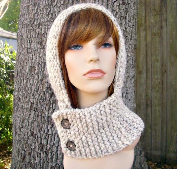 Knit Hat Womens Hat Knit Hood - Warrior Helmet Balaclava in Wheat Cream Knit Hat - Wheat Hat Cream Hat Womens Accessories