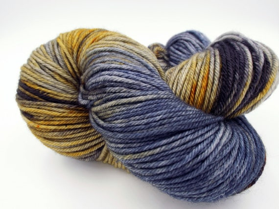 Hand Dyed Yarn 100% Superwash Merino Yarn Worsted Weight Yarn - 220 Yards - Variegated Blue Yarn Grey Yarn Yellow Yarn  - The Impressionist