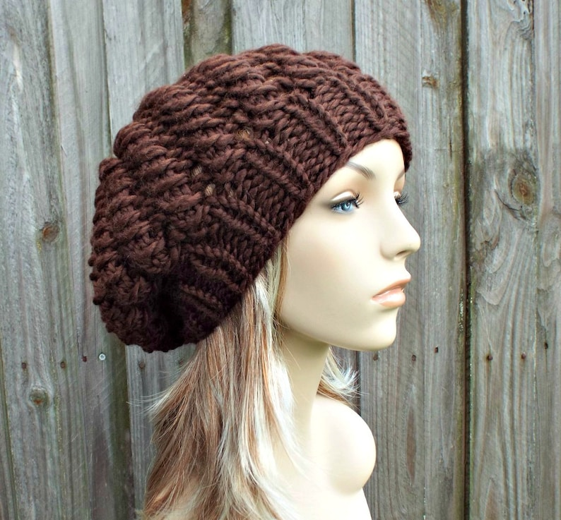 96b852f1e19 Chocolate Brown Knit Hat Brown Womens Hat Brown Slouchy Hat