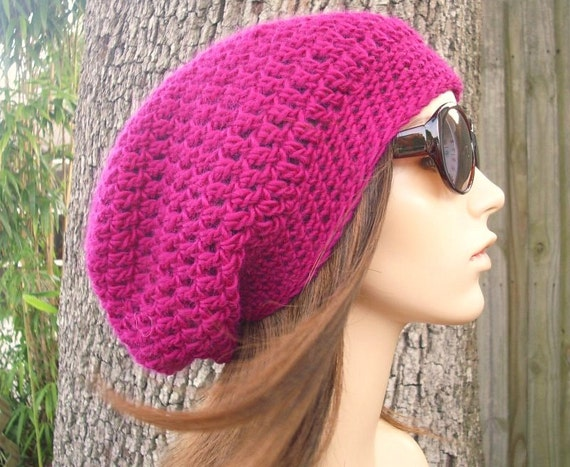 Pink Womens Hat Slouchy Beanie - Weekender Slouchy Hat Passionfruit Fuchsia Pink Crochet Hat - Womens Accessories Fall Fashion Winter Hat