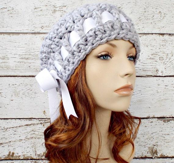 Crochet Hat Grey Womens Hat - Escargot Beret in Pewter Light Grey Crochet Beret - Grey Hat Grey Beret Grey Beanie Womens Accessories