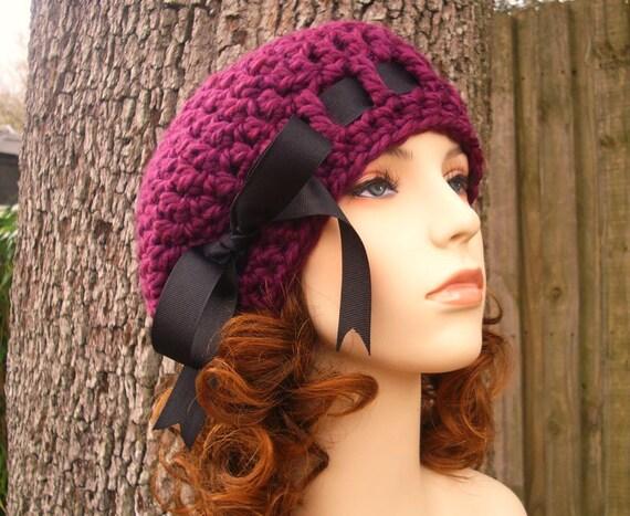 Crochet Hat Womens Hat - Escargot Beret in Red Violet Purple Crochet Hat - Purple Hat Purple Beanie Purple Beret Womens Accessories