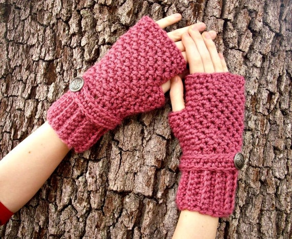 Crocheted Fingerless Gloves Mittens - Fingerless Gloves in Rose Pink - Pink Gloves Pink Mittens Womens Accessories