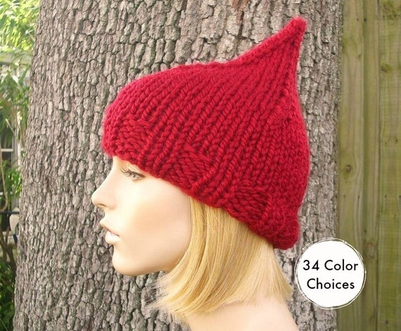Knit Womens Hat - Cranberry Red Gnome Hat Fall Fashion Winter Accessories - Knit Accessories