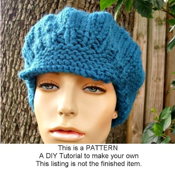 Instant Download Knitting Pattern - Knit Hat Pattern Chunky Newsboy ...