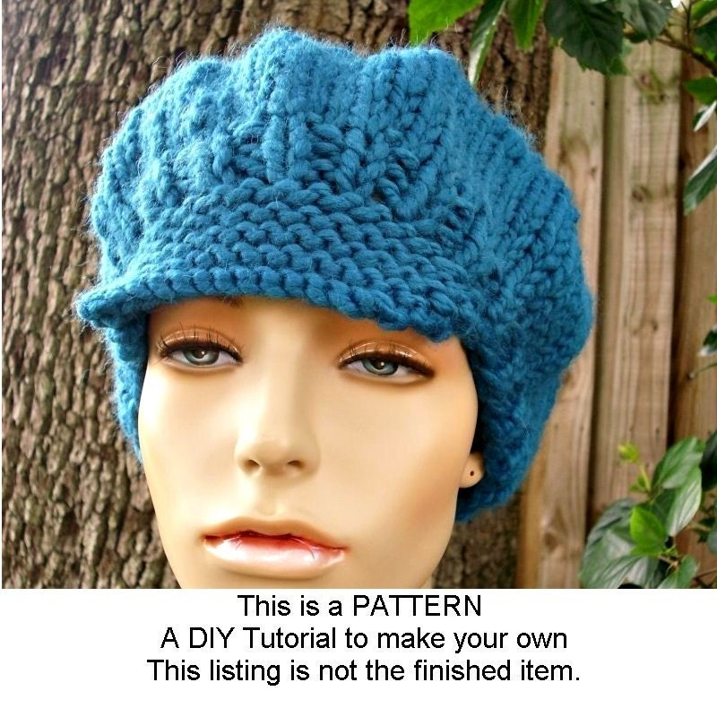 Instant Download Knitting Pattern Knit Hat Pattern Chunky Newsboy