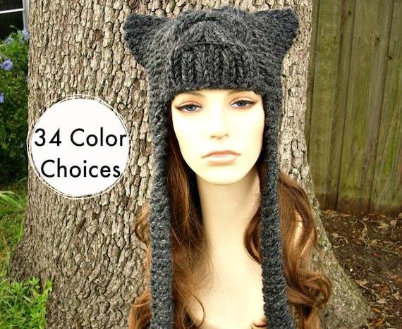 Grey Womens Hat - Cat Dragon Grey Ear Flap Hat Charcoal Grey Knit Hat Womens Accessories - Grey Hat Winter Hat