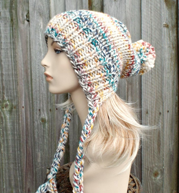 Slouchy Hat Womens Hat Ear Flap Hat Slouchy Beanie Cream Multicolor Hudson Bay - Charlotte Slouchy Knit Hat - Rainbow Hat Rainbow Beanie