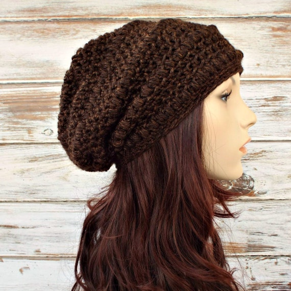 Crochet Hat Womens Hat - Penelope Puff Stitch Slouchy Beanie Hat in Sequoia Chocolate Brown and Caramel - Womens Accessories Winter Hat
