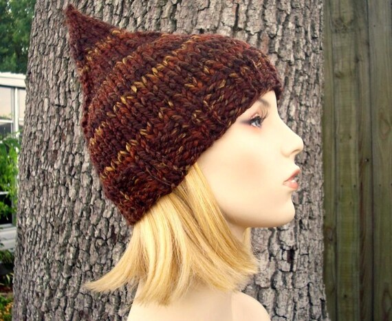 Knit Hat Brown Womens Hat - Brown Gnome Hat in Sequoia Brown Knit Hat - Brown Hat Brown Beanie Womens Accessories Winter Hat