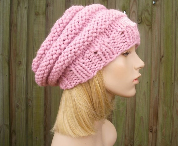 Knit Hat Womens Hat Slouchy Beanie - Beehive Beret Hat Blossom Pink Knit Hat - Pink Beanie Womens Accessories - READY TO SHIP