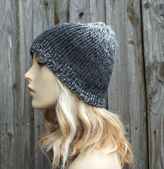 Double Knit Hat Silver and Charcoal Grey Mens Beanie, Grey Womens Beanie, Reversible Thick Winter Hat - 19 Color Choices