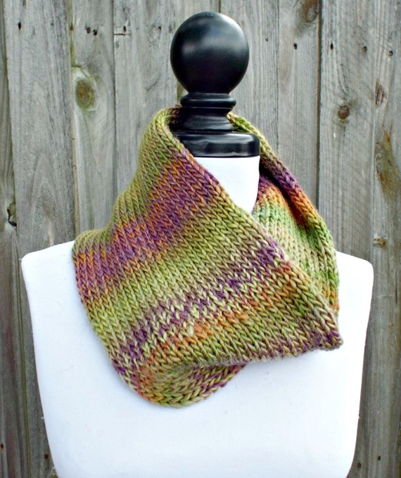 Double Knit Circle Scarf Womens Purple Green Cowl Purple Green Scarf - Cowl Scarf Womens Accessories Fall Fashion - READY TO SHIP