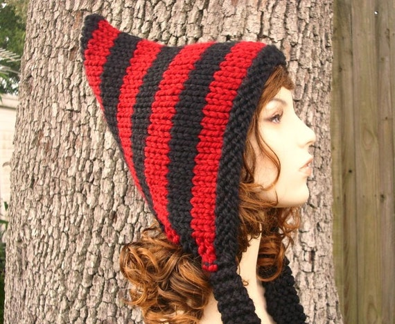 Knit Hat Womens Hat - Pixie Hat in Red and Black Knit Hat - Red Hat Black Hat Red Pixie Hat Black Pixie Hat Womens Accessories Winter Hat
