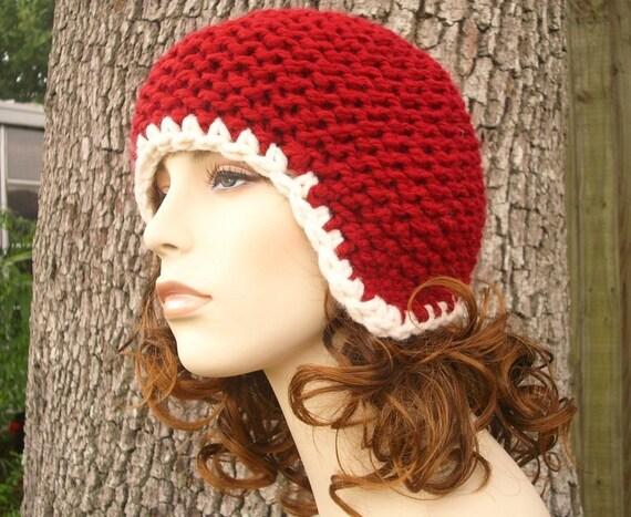 Knit Hat Womens Hat - Garter Helmet Red Ear Flap Hat in Cranberry Red Knit Hat - Red Hat Red Beanie Womens Accessories Winter Hat