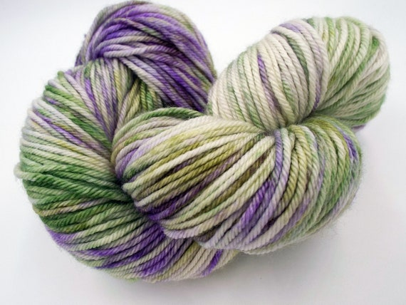Hand Dyed Yarn 100% Superwash Merino Yarn Worsted Weight Yarn - 220 Yards - Variegated Yarn Green Yarn Purple Yarn - Crocus In Snow